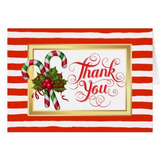 Carte de remerciements de Noël de rayure de sucre