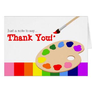 Carte de remerciements de palette d'artiste