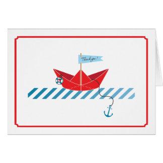 Carte de remerciements de papier du bateau  