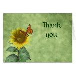 Carte de remerciements de papillon et de tournesol