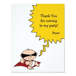 Carte de remerciements de partie de super héros carton d'invitation 10,79 cm x 13,97 cm