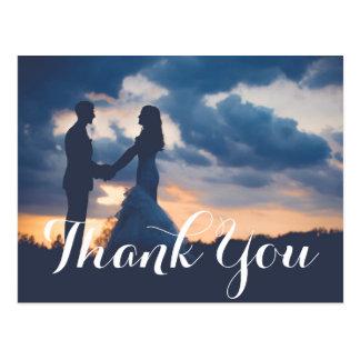 Carte de remerciements de photo de mariage de carte postale