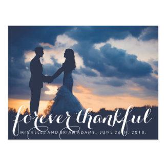 Carte de remerciements de photo de mariage de cartes postales