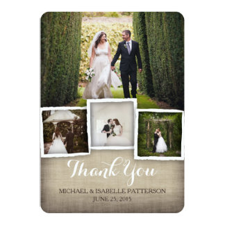 Carte de remerciements de photo de mariage de carton d'invitation  12,7 cm x 17,78 cm