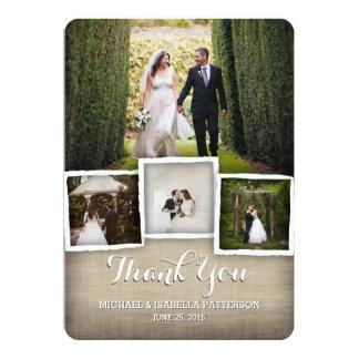 Carte de remerciements de photo de mariage de faire-parts