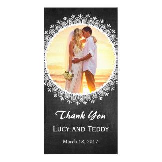 Carte de remerciements de photo de mariage de modèle pour photocarte