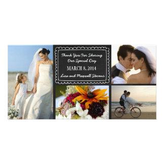 Carte de remerciements de photo de mariage de tabl modèle pour photocarte