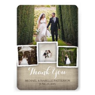Carte de remerciements de photo de mariage de toil