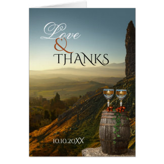Carte de remerciements de photo de mariage de vin