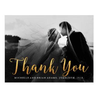 Carte de remerciements de photo de mariage d'or de carte postale
