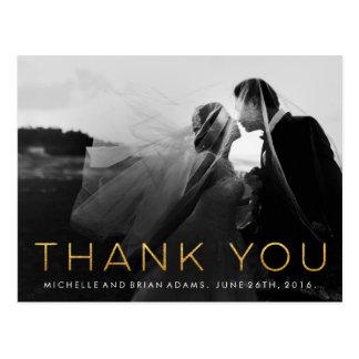 Carte de remerciements de photo de mariage d'or de cartes postales