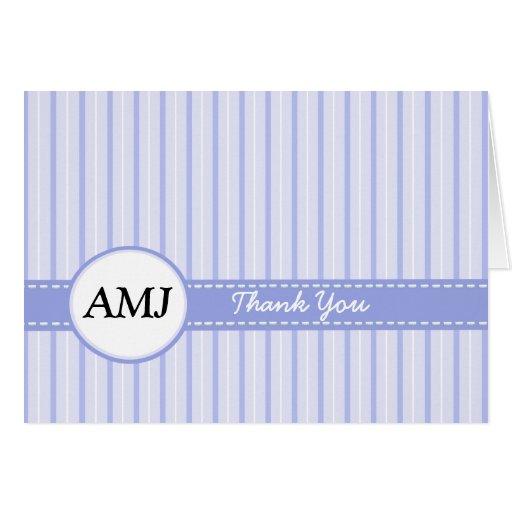 Carte de remerciements de photo plié par bleu rayé