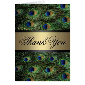 Carte de remerciements de plume de paon