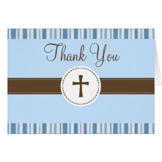 Carte de remerciements de rayure bleue de baptême