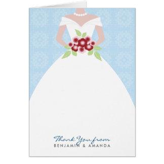 Carte de remerciements de robe de mariage (bleu)