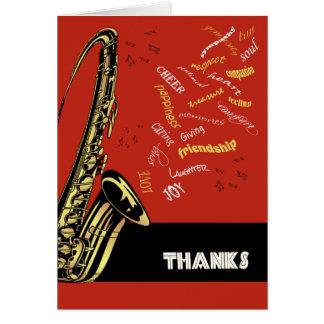 Carte de remerciements de saxophone de jazz