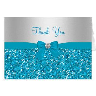 Carte de remerciements de scintillement bleu et