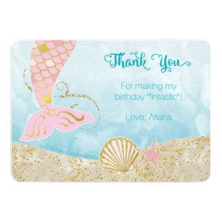 Carte de remerciements de sirène de rose et d'or carton d'invitation  12,7 cm x 17,78 cm
