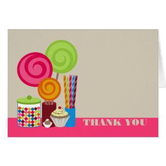 Carte de remerciements de sucrerie et de bonbons