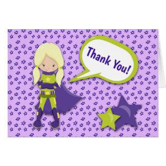 Carte de remerciements de super héros (fille,