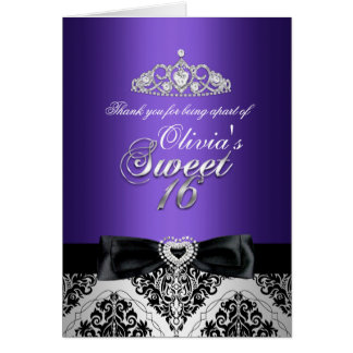 Carte de remerciements de sweet sixteen de damassé