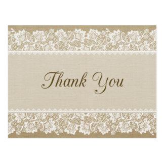 Carte de remerciements de toile de jute et de