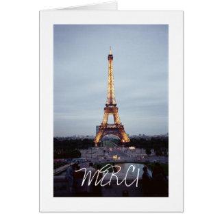 Carte de remerciements de Tour Eiffel