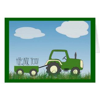 Carte de remerciements de tracteur -- intérieur mi