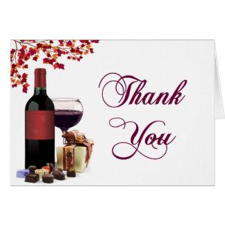 Carte de remerciements de vin et de chocolat