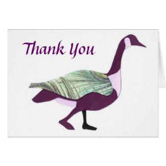 Carte de remerciements d'oie