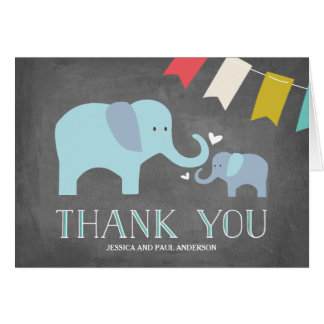 Carte de remerciements du bébé | d'éléphant