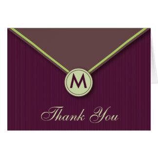Carte de remerciements élégant d'aubergine de