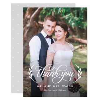 Carte de remerciements élégant de photo de mariage