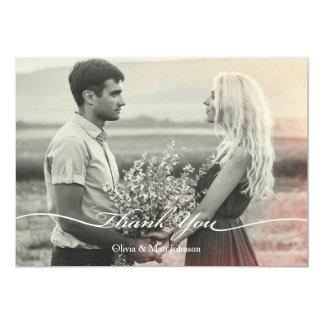 Carte de remerciements élégant de photo de mariage carton d'invitation  12,7 cm x 17,78 cm
