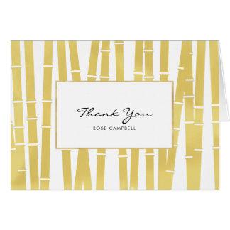 Carte de remerciements en bambou de verger d'or