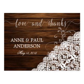 Carte de remerciements en bois et de dentelle carte postale