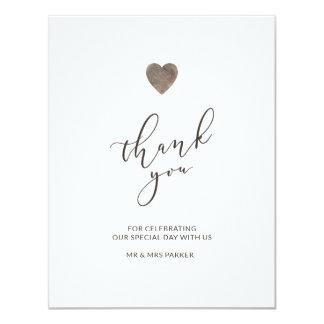 Carte de remerciements en bois rustique de coeur -