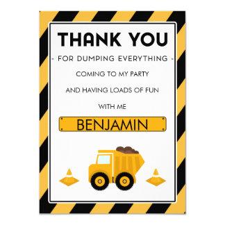 Carte de remerciements en construction carton d'invitation  11,43 cm x 15,87 cm