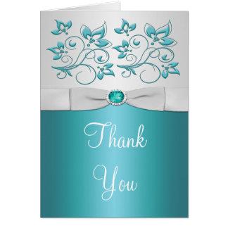 carte de remerciements floral Aqua-marin et