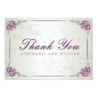 Carte de remerciements floral argenté vintage de cartons d'invitation