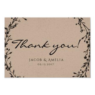 Carte de remerciements floral de guirlande carton d'invitation 8,89 cm x 12,70 cm