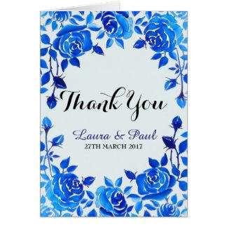 Carte de remerciements floral de mariage de bleu