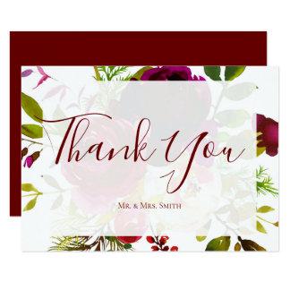 Carte de remerciements floral de Marsala Bourgogne