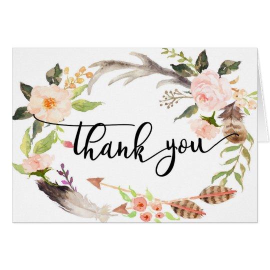 carte de remerciements floral de plume de boho