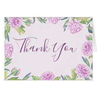 Carte de remerciements floral de ressort pourpre