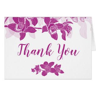 Carte de remerciements floral d'orchidées magenta
