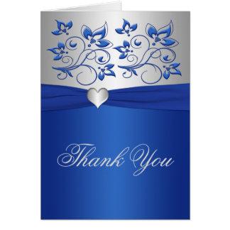 Carte de remerciements floral et argenté de bleu