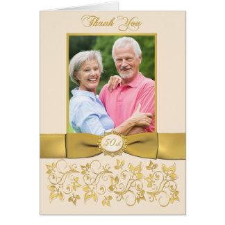 Carte de remerciements floral IMPRIMÉ d'or en