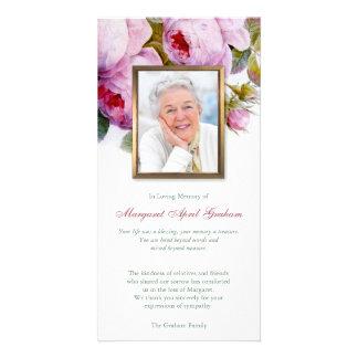 Carte de remerciements funèbre de photo de roses