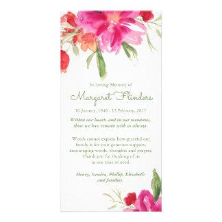Carte de remerciements funèbre floral d'aquarelle modèle pour photocarte